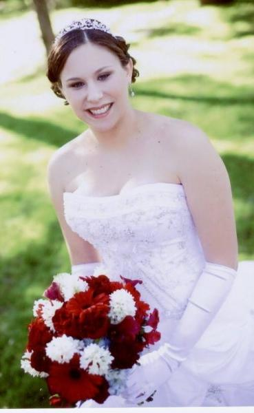 Red Gerber daisies and white hyacinth bridal bouquet