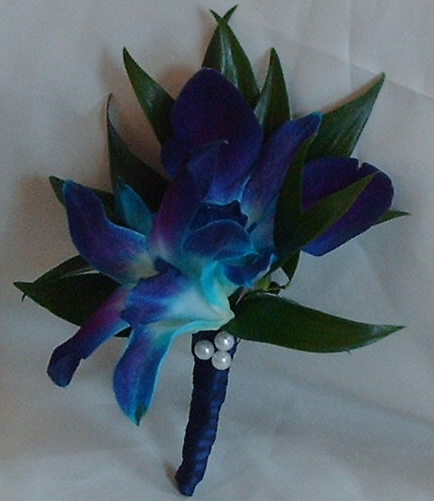 Blue Orchid Boutonniere