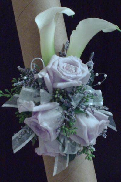 Calla lilly and lavender Rose Wrist Corsage