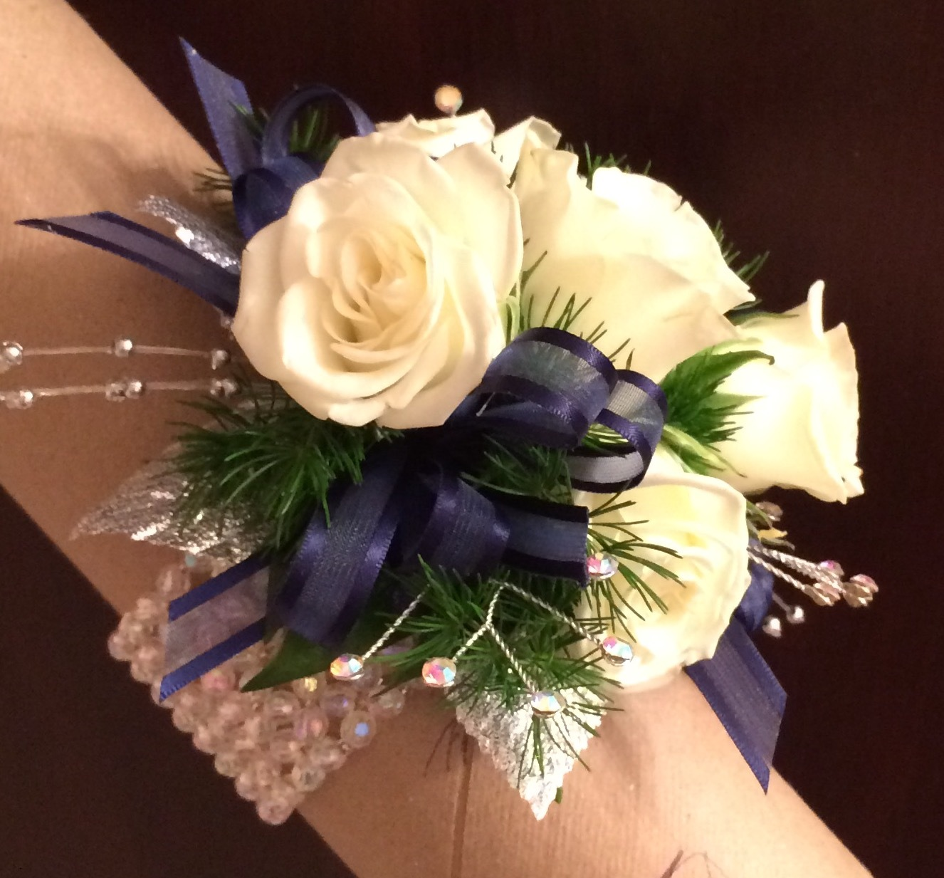Navy And White And Iridescent Wrist Corsage Wedding Flowers Gallery