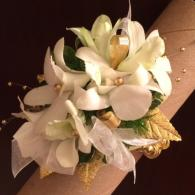 Gold and White Wrist Corsage