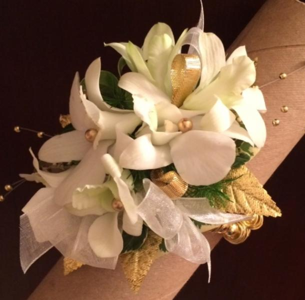 Gold and white wrist corsage wedding flowers gallery gold and white wrist corsage mightylinksfo