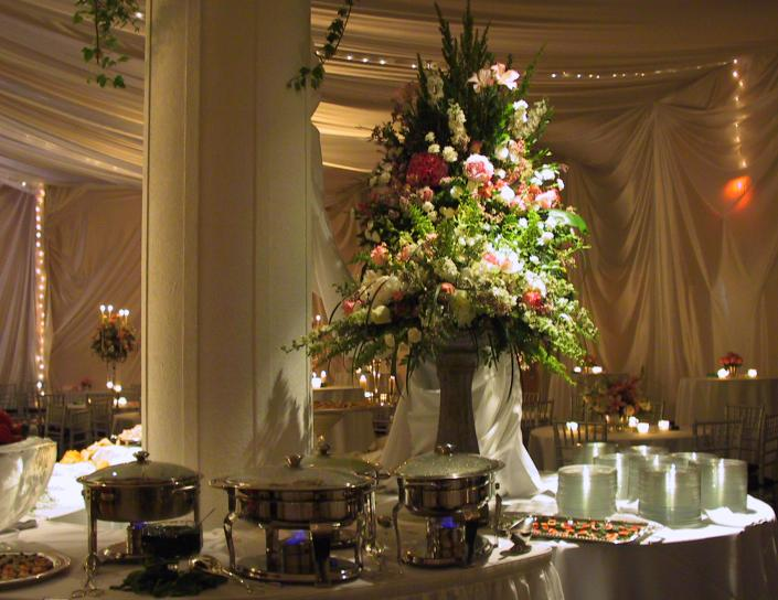 [Image: Flowers are perfect for adding elegance to any buffet or dessert table!]